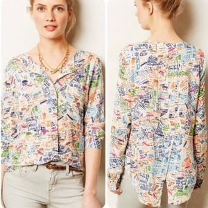 Anthropologie Maeve Cartography Map blouse Size 2